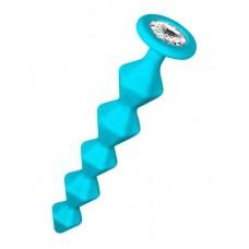 Бирюзовая анальная цепочка с кристаллом Chummy - 16 см.